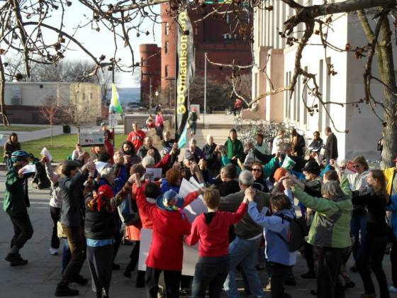 Dancing for climate justice at the Global Climate Convergence, April 22, 2014.